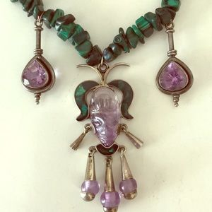 Sterling Silver Malachite Amethyst Necklace
